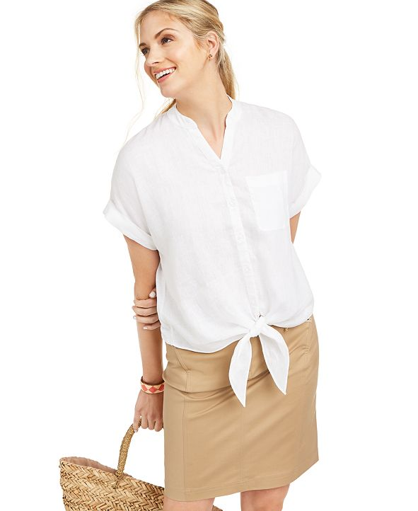 Charter Club Petite Linen Tie-Front Shirt, Created for Macy's