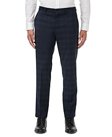 Men's Modern-Fit Navy Windowpane Suit Separate Pants