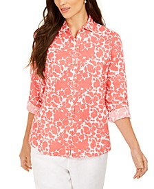 Printed Roll-Sleeve Linen-Blend Top, Created for Macy's