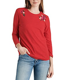 Embroidered 3/4 Sleeve T-Shirt