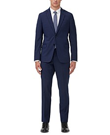 Men's Slim-Fit Blue Textured Micro Stripe Suit Separates