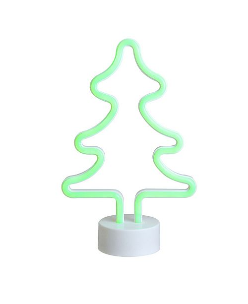 Northlight Battery Operated Neon Style LED Green Christmas Tree Table Light
