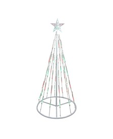 4' White Single Tier Bubble Show Cone Christmas Tree Lighted Outdoor Decoration - Multi Lights