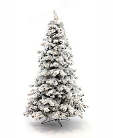 7.5' Pre-Lit Flocked Christmas Tree with Warm White LED Lights