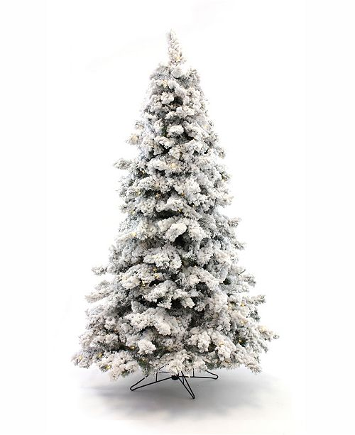 Perfect Holiday Pre-Lit Flocked Christmas Tree with Warm LED Lights Collection