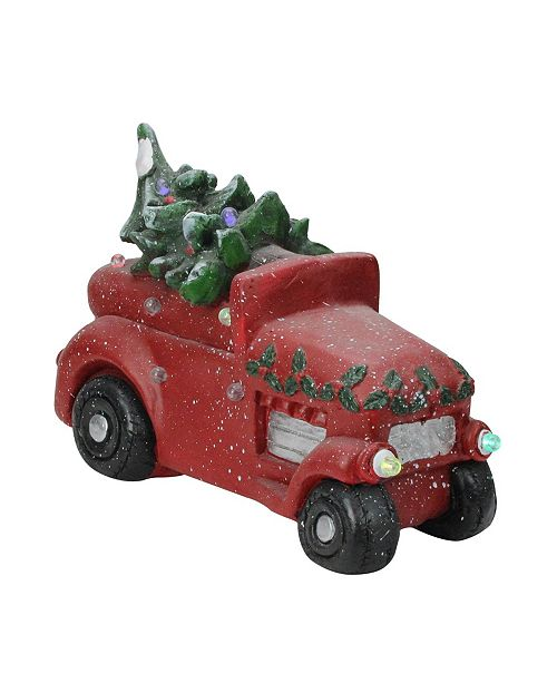 "Northlight 18"" Musical LED Lighted Red Vintage Truck With a Decorated Christmas Tree"
