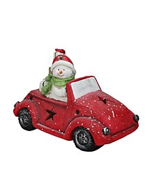 Pre-Lit LED Joyful Snowman Driving a Red Beetle Star Car with Christmas Presents