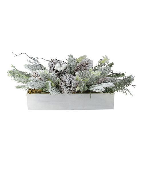 "Northlight 19.5"" Flocked Berries Pinecones and Foliage Filled Decorative Christmas Box"