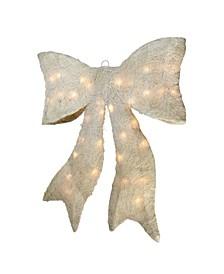 "24"" Pre-lit Sparkling Cream Sisal Bow Christmas Decoration"