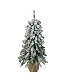 "18"" Flocked Downswept Mini Village Pine Artificial Christmas Tree in Burlap Base - Unlit"