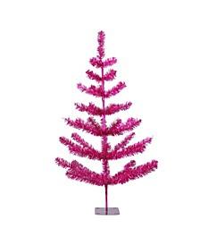 3' Fuchsia Pink Tinsel Pine Artificial Christmas Twig Tree - Unlit
