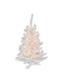 3' Pre-Lit Snow White Artificial Christmas Tree - Clear Lights