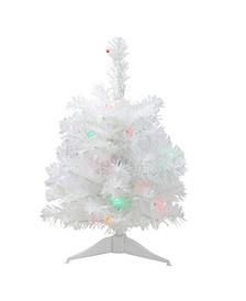 "18"" Pre-Lit LED Snow White Artificial Christmas Tree - Multi-Color Lights"