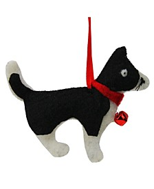 "4.72"" Cream and Black Dog Plush Christmas Ornament"