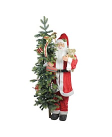 """50"""" Musical Standing Santa Claus Figure with Lighted Christmas Tree and Teddy Bear"""