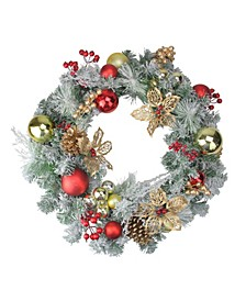 Pre-Decorated Red and Gold Lightly Flocked Artificial Christmas Wreath - 24-Inch Unlit