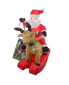 4.75' Inflatable Rocking Reindeer Santa Lighted Christmas Outdoor Decoration