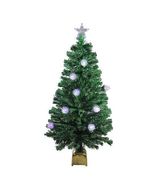 Northlight 4' Pre-Lit Fiber Optic Pine Cone Artificial Christmas Tree - LED Multi Lights