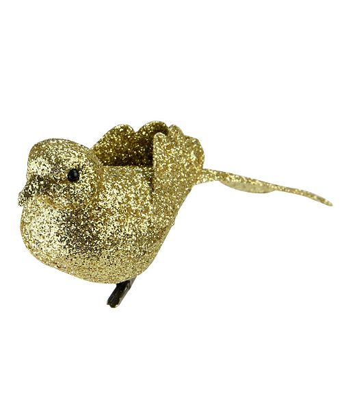 "Northlight 6"" Bright Gold Clip-On Glittered Bird Christmas Ornament Decoration"
