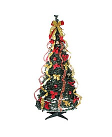 Pre-Lit Gold-Tone and Decorated Pop-Up Artificial Christmas Tree - Clear Lights