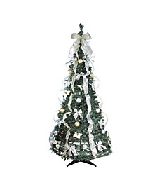 6' Pre-Lit Silver and Gold Decorated Pop-Up Artificial Christmas Tree - Clear Lights