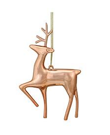 "4.75"" Shiny Rose Gold Metal Reindeer Christmas Tree Ornament"