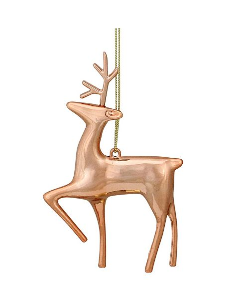 "Northlight 4.75"" Shiny Rose Gold Metal Reindeer Christmas Tree Ornament"
