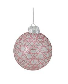 "3.75"" Glitter Pink Geometric Diamond Clear Glass Christmas Ball Ornament"