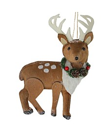 """8"""" Brown and White Spotted Stuffed Deer with Antlers Christmas Ornament"""