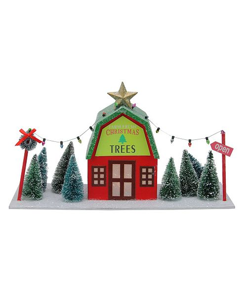 Northlight Prelit Christmas Tree Store with Pine Trees - Cool White Lights