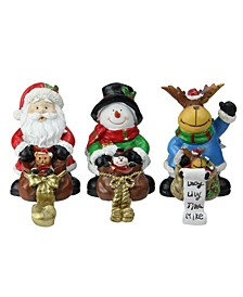 "Set of 3 Santa Snowman and Reindeer with Gift Sacks Christmas Stocking Holders 6.5"""