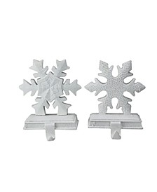 Set of 2 White Snowflake Glittered Christmas Stocking Holder 9.5""
