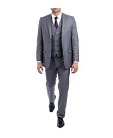 Tazio Men's Ultra Slim Fit Notch Lapel Windowpane Suit
