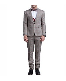 Men's Skinny Fit Glen Plaid Peak Lapel Suit