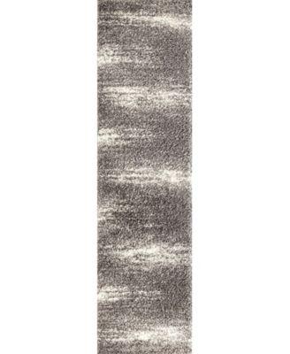 "Bahia Shag Bas2828 Gray 2' x 7'2"" Runner Rug"