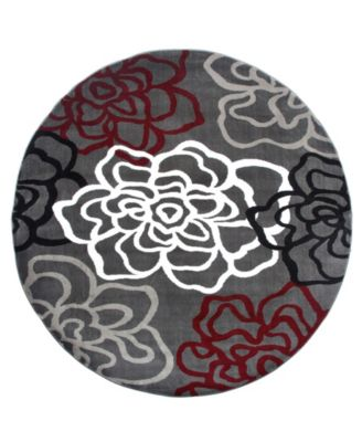 """Montane Mon108 Red/Gray 6'6"""" Round Area Rug"""