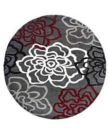 "Main Street Rugs Home Montane Mon108 Red/Gray 6'6"" Round Area Rug"