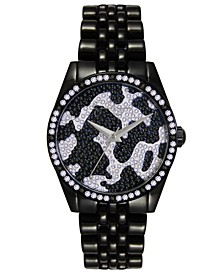 Women's Camo Pave Crystal Black Tone Bracelet Watch 37mm