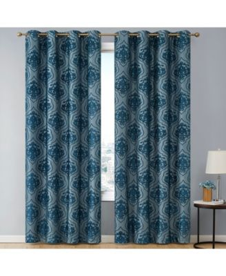 Obscura by Newcastle Damask Flocked 100% Blackout Grommet Curtain Panels - 50 W x 63 L - Set of 2