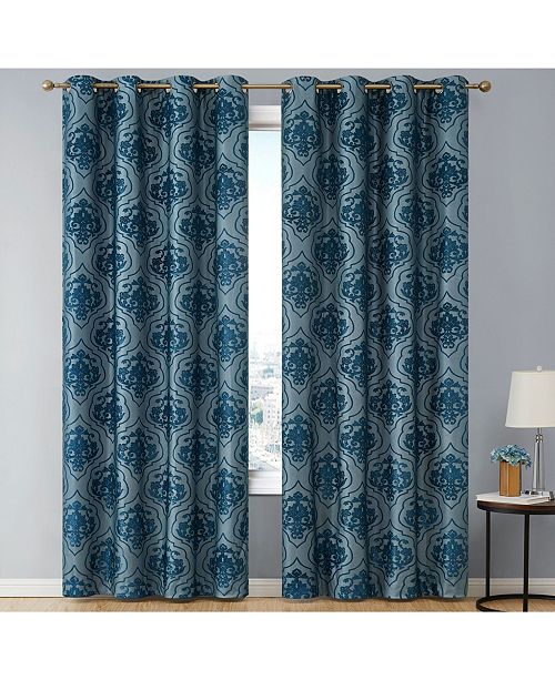 HLC.me Obscura by Newcastle Damask Flocked 100% Blackout Grommet Curtain Panels - 50 W x 63 L - Set of 2