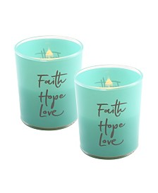 Lumabase Battery Operated Wax Filled Glass LED Candles, Faith Hope Love, Set of 2