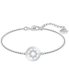 Silver-Tone Crystal Circle Flex Bracelet