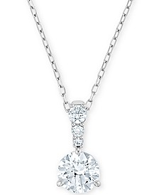 """Silver-Tone Crystal Solitaire Pendant Necklace, 14-7/8"""" + 2"""" extender"""