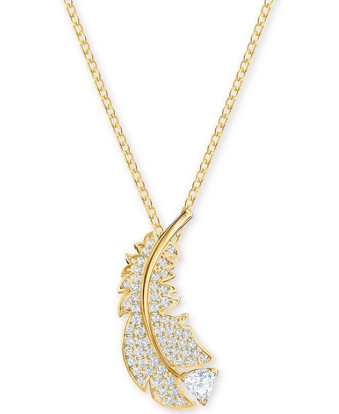 "Swarovski Crystal Feather Pendant Necklace, 14-7/8"" + 2"" extender"