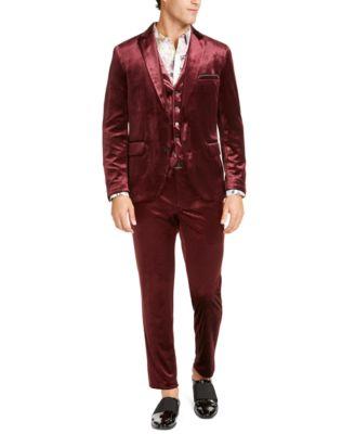 INC Men's Slim-Fit Shiny Velvet Pants, Created For Macy's