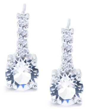 Crystal 6mm with Cubic Zirconia Bar Drop Earring in Sterling Silver. Available in Clear