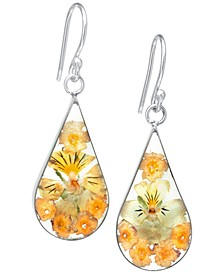 Medium Teardrop Dried Flower Earrings in Sterling Silver. Available in Multi, Blue, Yellow or Purple