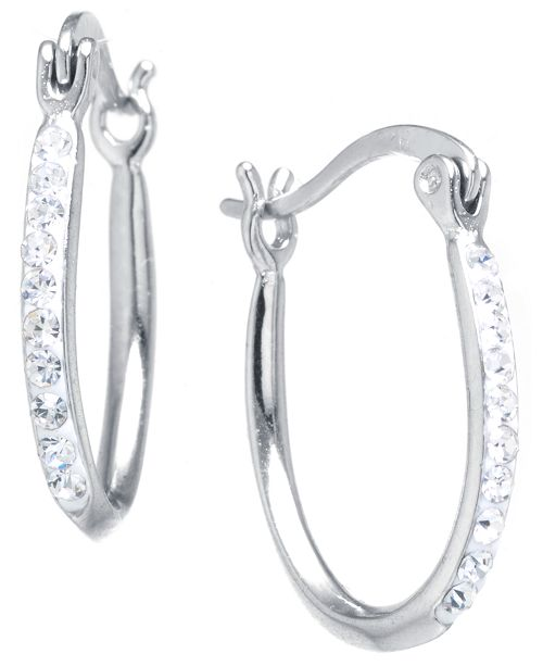 Macy's Crystal Oval Hoop Earrings in Sterling Silver. Available in Clear, Gray or Blue