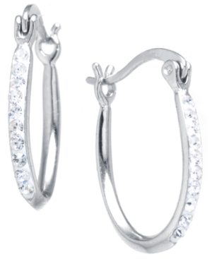 Crystal Oval Hoop Earrings in Sterling Silver. Available in Clear