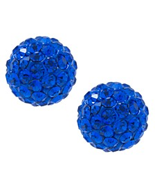 Crystal 6mm Pave Stud Earrings in Sterling Silver. Available in Clear, Blue or Red